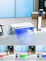 Changement de couleur Moderne Baignoire et douche Jet pluie Multi-teintes with  Soupape céramique Mitigeur Trois trous for  Chrome ,