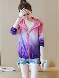 Women's Sports Simple Summer Jacket,Color Block Hooded Long Sleeve Short Others