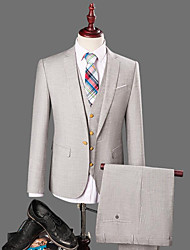 Men's Party/Cocktail Work Simple Spring Fall Suit,Solid Shirt Collar Long Sleeve Regular Cotton
