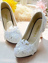 Women's Wedding Shoes Slingback Lace Leatherette Spring Fall Wedding Office & Career Party & Evening DressRhinestone Applique Imitation