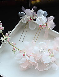 Tulle Chiffon Imitation Pearl Fabric Silk Net Alloy Headpiece-Wedding Special Occasion Birthday Party/ Evening Flowers Hair Clip Hair Pin