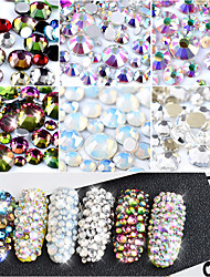 800Pcs 1 Pack Crystal Opal White Glass Nail Art Rhinestones Mixed Sizes Colorful Non Hotfix Flatback Strass 3D Manicure Decorations