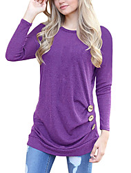 Women's Going out Casual/Daily Simple Street chic Spring Fall T-shirtSolid Round Neck Long Sleeves Buttons Loose All Match Ruched Medium