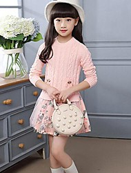 Girl's Floral Patchwork Dress,Cotton Spring Fall Long Sleeve