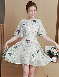 Women's Casual/Daily A Line Dress,Floral Round Neck Above Knee Short Sleeves Polyester Summer Low Rise Inelastic Medium
