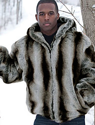 Men's Casual/Daily Work Simple Winter Fur Coat Striped Hooded Long Sleeve Regular Fox Fur Raccoon Fur Grey Warm