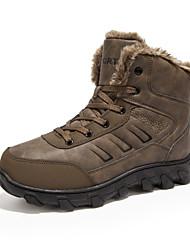 Men's Boot Snow Boot Bootie Fall Winter Leather Outdoor Flat Heel Brown Black Flat