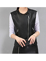 Women's Casual/Daily Simple Spring Vest,Solid Round Neck Long Sleeve Regular PU