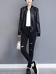 Для женщин На выход На каждый день Осень Зима Кожаные куртки Воротник-стойка,Уличный стиль Однотонный Короткая Длинный рукав,