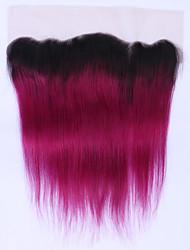Beata cabelo não-remy ombre Borgonha brasileira cabelos lisos laço frontal 12 a 16 polegadas dois tons 1b / 99j suíça de renda do cabelo