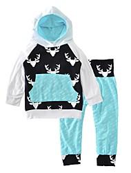 Boys' Print Sets Cotton Spring Fall Long Sleeve Clothing Set Deer Head Arrow Baby Boys 2pcs Outfits