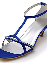 Damen Hochzeit Schuhe Pumps Stretch - Satin Sommer Kleid Party & Festivität Kristall Kitten Heel-Absatz Schwarz Purpur Blau 2,5 - 4,5 cm