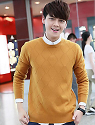 Men's Casual/Daily Simple Regular Pullover,Solid Round Neck Long Sleeves Wool Winter Medium Micro-elastic