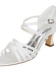 Women's Wedding Shoes Basic Pump Stretch Satin Summer Wedding Dress Buckle Chunky Heel Ivory 2in-2 3/4in