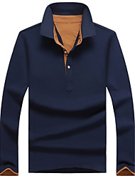 Herren Einfarbig Einfach Ausgehen Lässig/Alltäglich Übergröße T-shirt,Hemdkragen Herbst Langarm Baumwolle Elasthan Mittel