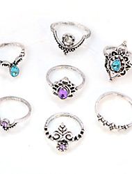 7 Pcs/set Women's Midi Rings Crystal Rhinestone Fashion Vintage Elegant Crystal Imitation Diamond Alloy Round Flower Jewelry ForDaily Casual