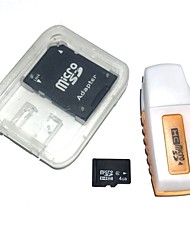 4GB MicroSDHC TF Memory Card with USB Card Reader and SDHC SD Adapter