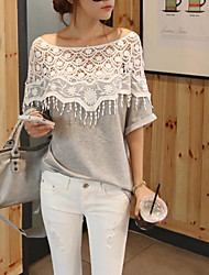 Women's Going out Simple Blouse,Solid Off Shoulder Half Sleeves Cotton