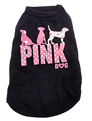 Cat Dog Shirt / T-Shirt Dog Clothes Fashion Letter & Number Black