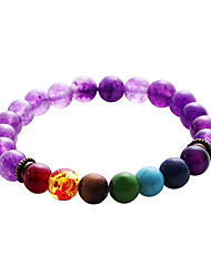 Lureme Men Women 8mm Lava Rock 7 Chakras Beads Bracelet Elastic Natural Stone Yoga Bracelet