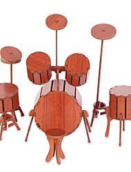 Пазлы Набор для творчества 3D пазлы Строительные блоки Игрушки своими руками Ударная установка Архитектура Натуральное дерево
