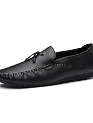 Hombre Zapatos de taco bajo y Slip-Ons Confort Primavera Otoño Semicuero Casual Fiesta y Noche Borla(s) Tacón Plano Dorado Negro Pantalla