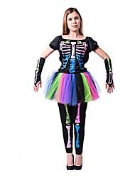 Einteilig/Kleid Skelett/Totenkopf Zombie Cosplay Fest/Feiertage Halloween Kostüme Vintage Top Hosen Handschuhe Halloween Karneval Frau