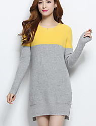 Women's Casual/Daily Simple Long Cashmere,Print Round Neck Long Sleeves Others Fall Winter Medium Stretchy