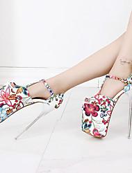 Для женщин Обувь на каблуках С Т-образной перепонкой Туфли лодочки Весна Осень Полиуретан Для вечеринки / ужина Пряжки Цветы На шпильке