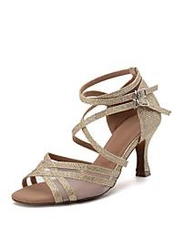 Damen Latin Netz Glanz Sandalen Absätze Volle Sole Innen Verschlussschnalle Glitter Keilabsatz Gold Schwarz Silber Rot Blau Maßfertigung