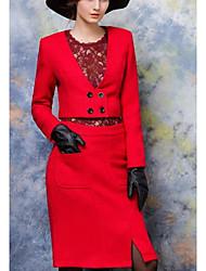 Для женщин Офис Весна Осень Рубашка Юбки Костюмы V-образный вырез,Простой Однотонный Длинный рукав