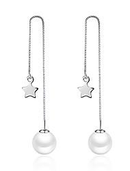 Lureme® Women's Drop Earrings Diamond Pearl Natural Metallic Handmade Vintage Bohemian Pearl Rhinestone Alloy Irregular Jewelry ForParty