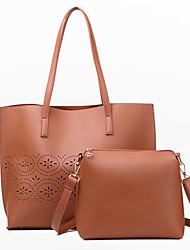 Women Bag Sets PU All Seasons Casual Round Open Back Brown Gray Blushing Pink Black