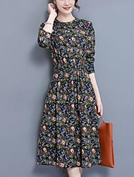 Trapèze Robe Femme Sortie Décontracté / Quotidien Grandes Tailles simple Chinoiserie,Imprimé Mao Midi Manches Longues Coton LinPrintemps
