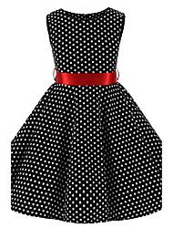 Girl's Black White Mini Polka Dot Vintage Inspired Sleeveless 50s Rockabilly Swing Dress Cotton All Seasons