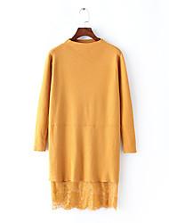 Для женщин На выход На каждый день Винтаж Уличный стиль Свободный силуэт Трикотаж Платье Однотонный,Вырез под горло Выше коленаДлинный