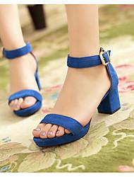 Для женщин Сандалии Удобная обувь Гладиаторы Лето Нубук Повседневные Черный Красный Зеленый Синий 4,5 - 7 см