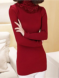 Women's Going out Casual/Daily Simple Regular Pullover,Solid Turtleneck Long Sleeves Wool Spring Fall Medium Micro-elastic