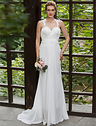 A-line Straps Sweep / Brush Train Chiffon Lace Wedding Dress with Appliques by LAN TING BRIDE®