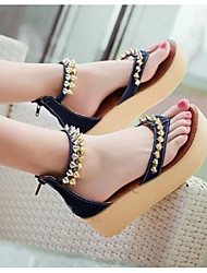 Women's Slippers & Flip-Flops Comfort PU Spring Summer Casual Comfort Light Blue Navy Blue Under 1in