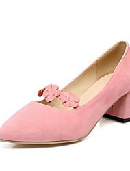 Damen High Heels Pumps Schuhe für das Blumenmädchen formale Schuhe Frühling Samt Kleid Party & Festivität Blume Blockabsatz Schwarz Grau