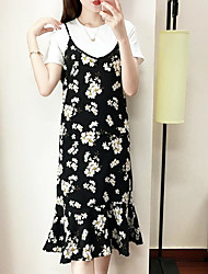 Women's Casual/Daily Trumpet/Mermaid Dress,Floral Strap Midi Sleeveless Polyester Summer Mid Rise Inelastic Thin