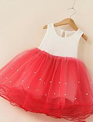 princesa vestido de la muchacha de flor de la longitud de la rodilla - cuello de la joya del polyster del lazo del algodón por baihe