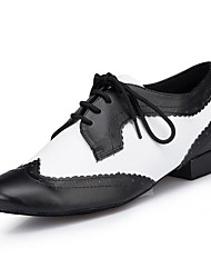 "Men's Latin Real Leather Heels Professional Color Block Chunky Heel Black/White Under 1"" Customizable"