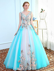Ball Gown V-neck Floor Length Tulle Prom Formal Evening Wedding Party Dress with Embroidery by MMHY