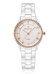 Муж. Жен. Модные часы Кварцевый Защита от влаги Крупный циферблат Керамика Группа Блестящие Повседневная Элегантные часыЧерный Белый