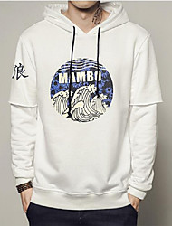 Men's Casual/Daily Vintage Hoodie Print Hooded Micro-elastic Cotton Acrylic Long Sleeve Fall Winter