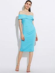 Moulante Robe Femme Soirée simple Chic de Rue,Couleur Pleine Bateau Midi Manches Courtes Polyester Eté Automne Taille Haute
