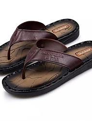 Men's Slippers & Flip-Flops Light Soles Spring Summer PU Casual Buckle Flat Heel Light Brown Dark Brown Under 1in