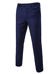 Men's Mid Rise Stretchy Business Pants,Simple Straight Solid